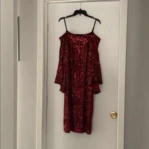 Red sequined off the shoulder dress